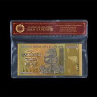 WR 2008 Zimbabwe 100 Trillion Dollars Banknote 24K GOLD Bank Note Gift +COA PACK