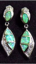 STUNNING Green Fire Lab Opal & Crystal Fashion Stud Dangle Earrings