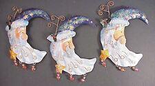 Blue Tin Santa 3 Ct Lot Star Iridesc Glitter Bead Ornaments Christmas Frozen Sky