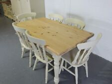 Brand New Painted 5ft Farmhouse Dining Table with 6 Fiddle back Chairs in Cream
