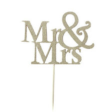 Mr & Mrs Silver Cake Topper Decoration AnniversaryWedding Paper Cake Pick Topper