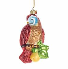 NB1237 Noble Gems Partridge on a Pear Tree Branch Glass Christmas Ornament Bird