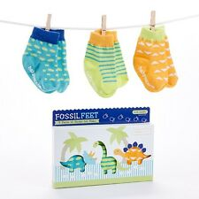 Fossil Feet 3-Piece Dinosaur Socks Gift Set (0-6 Months) Baby Shower Gift