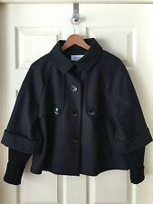 CALVIN KLEIN MILITARY STYLE CROPPED WOOL JACKET W/ SWEATER TRIM / SZ 6 / NWOT