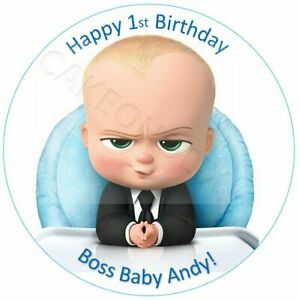 Boss Baby Happy Birthday Personalised Message on an Edible Cake Topper