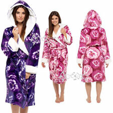 Ladies Super Soft Luxury Plush Robe,Pansy Print  Hooded Dressing Gown, 8-22,