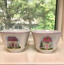 2 Rare The Lenox Collection Village Candy Dishes Porcelain Hard To Find!