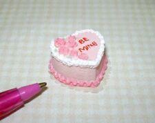 "Miniature PINK Valentine's Day Heart Cake ""BE MINE"": DOLLHOUSE 1:12"