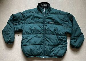 Vintage 90s Nike Reversible Puffer Jacket Forest Green Black Size XL