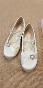 PINK Kids Ivory Satin flower girl/First Holy Communion Flat Shoes sizes