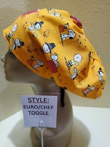 Charlie Brown Thanksgiving Women's  Euro/Chef Surgical Scrub Hat/Cap Handmade