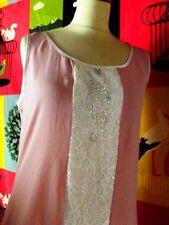 ZONE BLEUE ROBE DRESS ROSE NUDE ESPRIT FOLK LINGERIE T1 OU 38/40