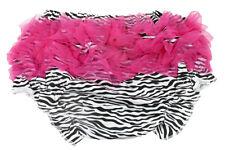 Zebra Diaper Cover with Hot Pink Ruffles