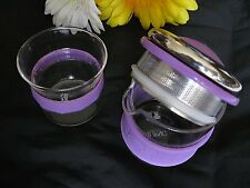 Stainless Steel Personal Tea Glass Cup w/ Filter Infuser Anti-slip Sleeve & Cup