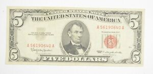 Crisp 1963 Red Seal $5 United States Note - Better Grade *070