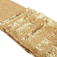 "Folded Edge Gold Glitter Sequin Table Runner 12""x108"" Sparkly Wedding Party Deco"