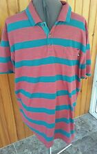 north face mens XXL teal green and red striped polo shirt