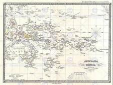 GEOGRAFIA mappa illustrata Antico SPRUNER AUSTRALIA POLINESIA ART PRINT bb4481b