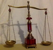 Vintage Scale. Brass & Red Lucite. Estimated 1950's.