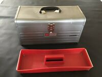 "Vintage 18"" Craftsman Toolbox Tool Box w/ Tool Organizer Tray Made USA"