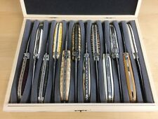 Große Holzkiste mit Schaumstoffeinlage für 12 Laguiole Taschenmesser bis 12 cm