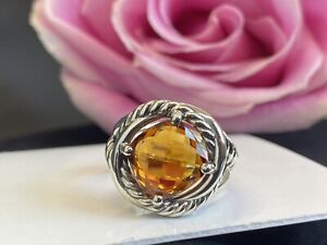 DAVID YURMAN 11MM Madeira Citrine STERLING SILVER INFINITY RING SIZE  8