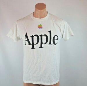 VTG 80s Apple Computers Mac T-Shirt Single Stitch sz L Rainbow Paper Thin