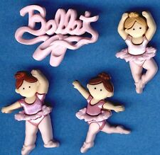 LITTLE BALLERINAS Ballet Pink Girl Dance Sport Novelty Dress It Up Craft Buttons