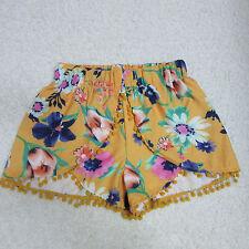 Tobi Women's Medium Yellow Vibrant Flroal High Waisted Pom Pom Shorts