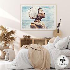 Boho Woman Wall Art Print. Beach, Hamptons style, Bohemian Home art, Neutral