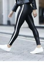 SPANX Faux Leather White Side Stripe Legging BLACK size Large ($110) NWOT