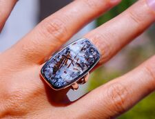 Beautiful Big Russian Astrophyllite set in 925 Sterling Silver Ring size 8