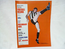 VFL RECORD - PRELIMINARY FINAL 30th September 1972  CARLTON v ST KILDA vgc