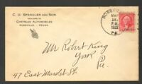 1932 Postmarked Advertising Cover Envelope CU Spangler and Son Chrysler Autos PA