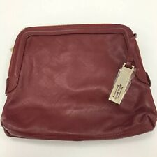 New Hobbs Clutch Handbag Burgundy Red Leather Double Zip Compartment Bag 291135