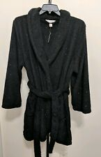 Cacique Lane Bryant Women's Plus Belted Robe Size 14/16 Black Metallic Plush