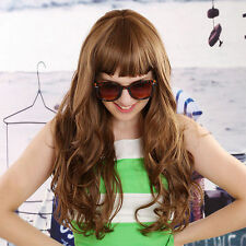 Fashion Women's Full Wig blunt bangs Long Layered Natural Wave Hair New