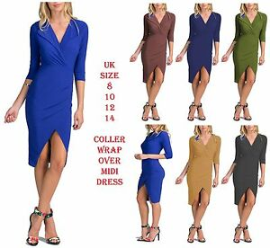 New Women Night Out Party Bodycon Dress Ladies Wrap Over Coller Split Dress