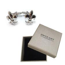 Mens Silver Fleur De Lis Scout Logo Symbol Cufflinks & Gift Box By Onyx Art