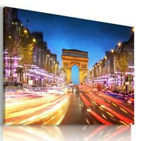 FRANCE Champs Elysees in Paris EIFFEL TOWER View Canvas Wall Art Picture L32