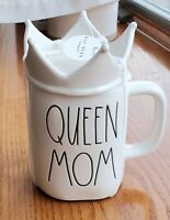 "Rae Dunn ""QUEEN MOM"" Ceramic Coffee Mug with Crown Topper"