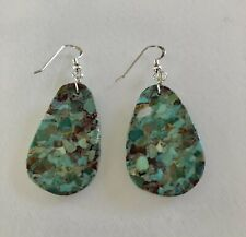 Santo Domingo Turquoise Mosaic Sterling Earrings - Nate Garcia