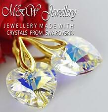 Gold Plated 925 Silver Earrings Crystals From Swarovski® HEART Crystal AB 14mm