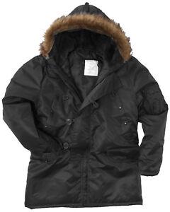 Black N3B Parka US Military Style Long Hooded Polar Jacket Cold Weather Coat