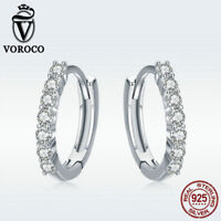 Voroco Authentic Crystal 925 Sterling Silver Hoop Huggies Earrings Women Jewelry