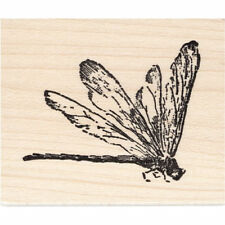 Dragonfly Profile Beeswax Rubber Stamp Mounted Insects Animals Dragonflies