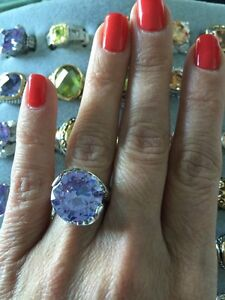 """NEW """"designer inspired"""" Large Light Purple CZ Ring w.Pave Detail size 7"""