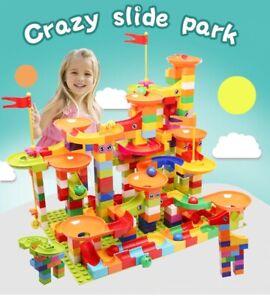 296 PCs Marble Race Run Building Big Blocks Plastic Funnel Toy Game Children Kid