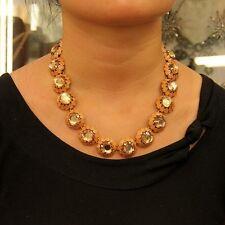 Halskette Frau gelb Amber Runde gelb Halbe Perlen- Original Abend Ehe JCR 11
