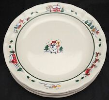 "3 Pfaltzgraff Snow Village 11"" Dinner Plates China Backstamp"